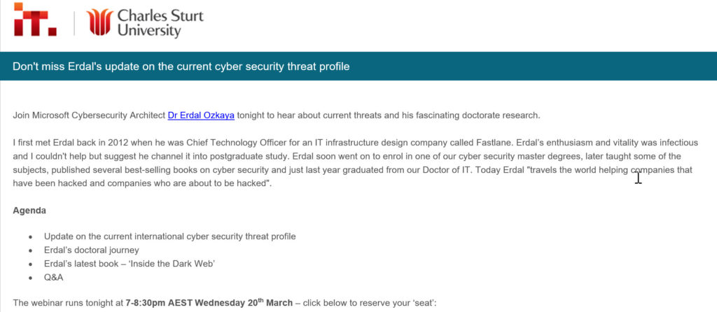 update on the current cyber security threat profile  by Erdal Ozkaya