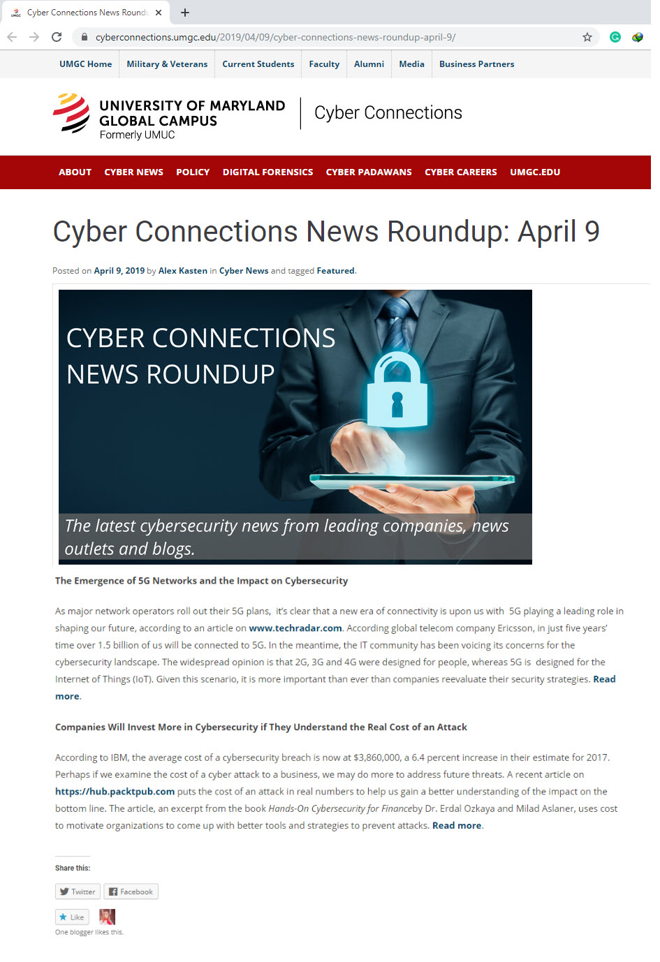 Cyber Connections News: University of Maryland