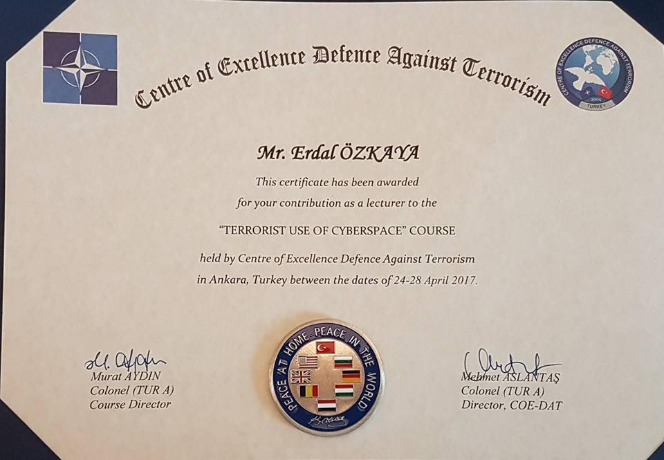 Center of Excellence Defense Against Terrorism Award Erdal Ozkaya