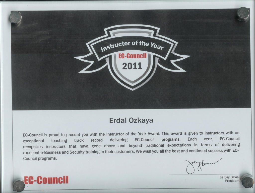 Global Instructor of the Year by EC-Council Erdal Ozkaya