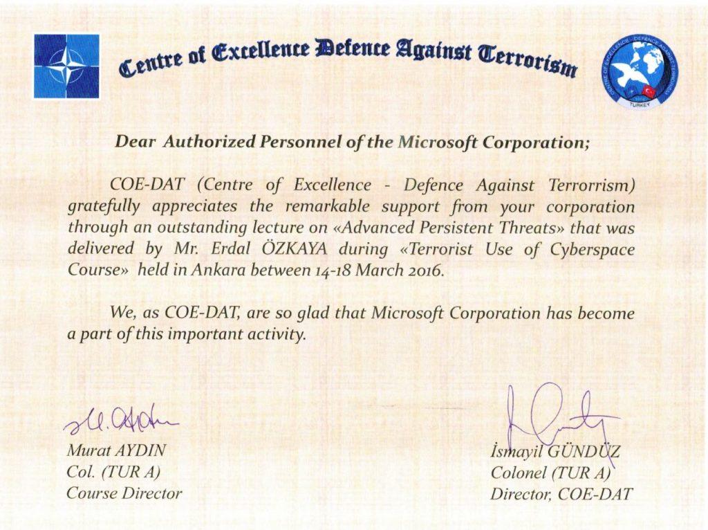 NATO Center of Excellence Award Erdal