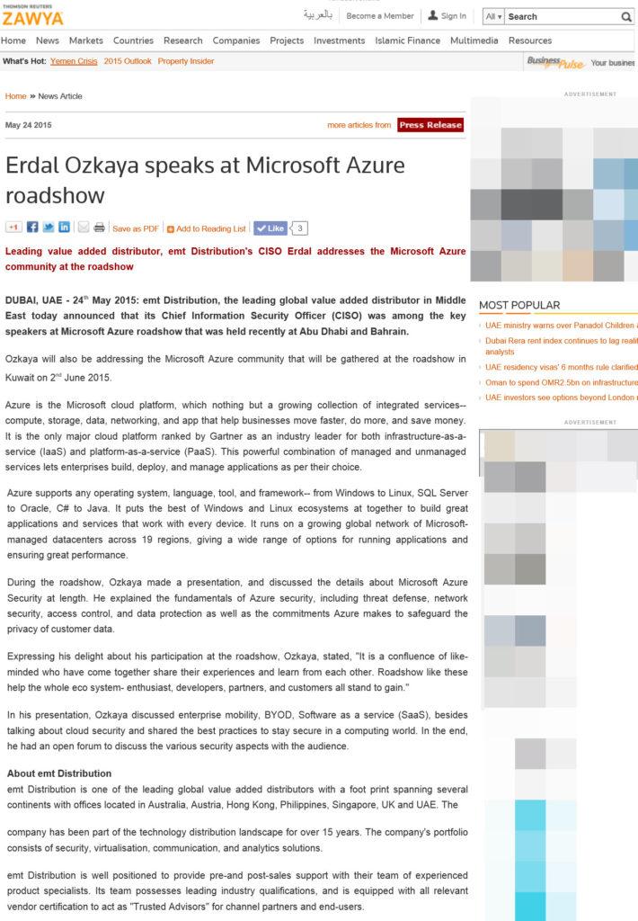 Erdal Ozkaya Addresses Microsoft Azure roadshow | Dr  Erdal
