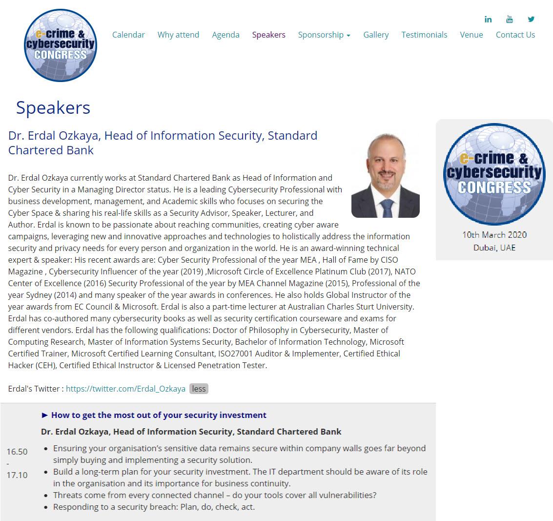 E-Crime and Cybersecurity Congress Congress Erdal Ozkaya