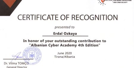 Albanian Cyber Academy Certificate of Recognition