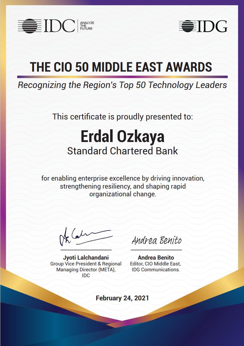 CIO 50 Middle East Awards Technology Leader Award