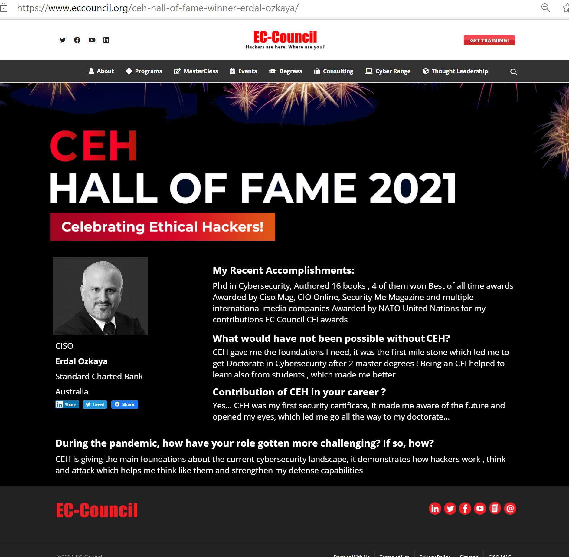 CEH Hall of Fame Dr Erdal Ozkaya